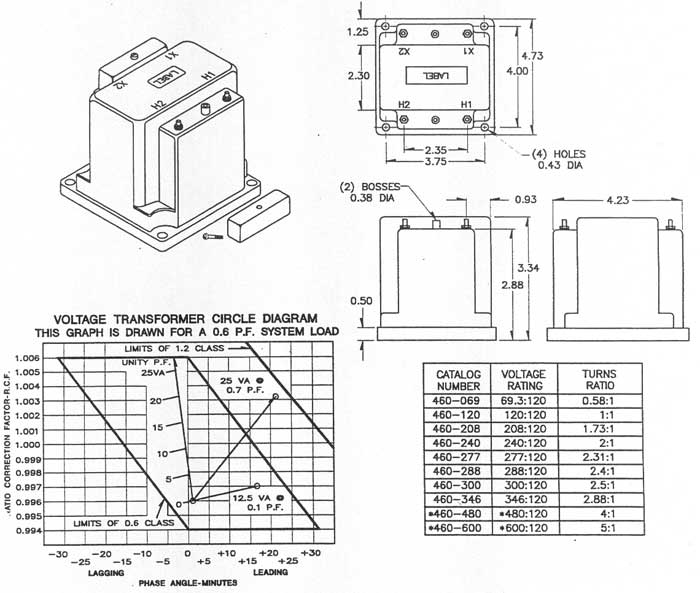 Panel components systems model 460 voltage transformer note all dimensions in inches ccuart Images